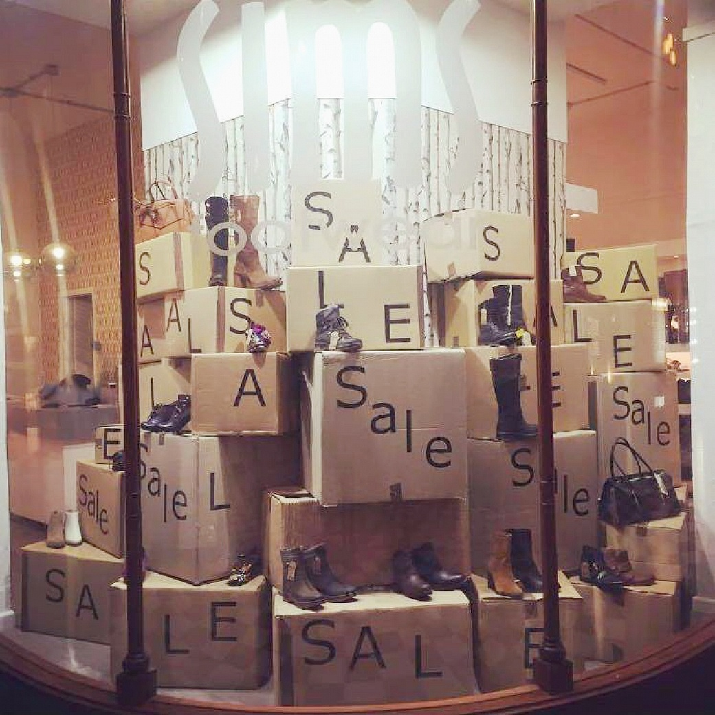 Sims Foootwear Sale window